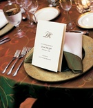 Wedding reception menu and place setting