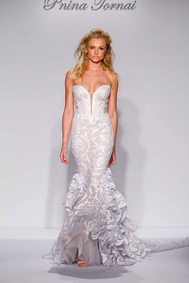 Pnina Tornai for Kleinfeld 2016 mermaid strapless wedding dress with ruffle skirt and pattern