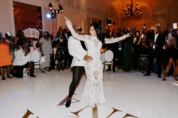 "r&b singer durrell ""tank"" babbs & zena foster wedding, white dance floor with gold letters, first da"