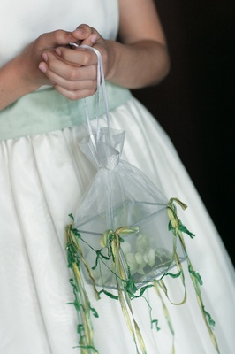 Flower girl carries flowers in a metal and glass box inside a sheer fabric bag