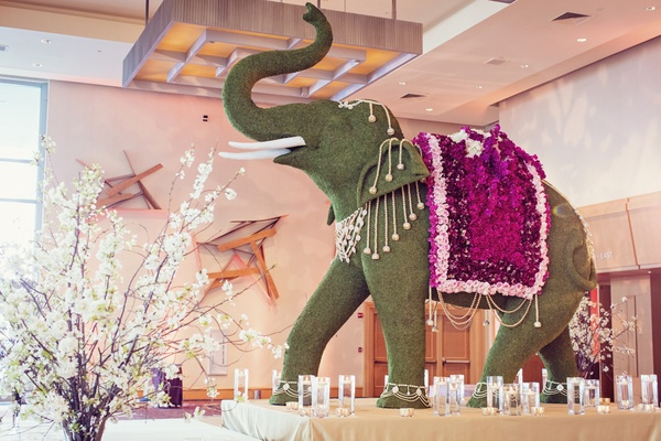very detailed elephant topiary on display at indian hindu wedding