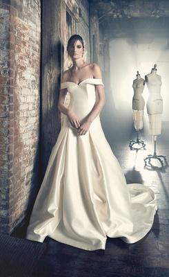 Sareh Nouri Fall 2018 wedding dress Ethel drop waist gown satin silk off shoulder pleats