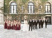 wedding party at oheka castle stone floor and ivy on walls burgundy bridesmaid dress shawl fur wrap