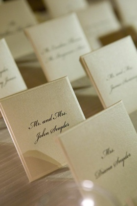 White wedding reception place cards with black script