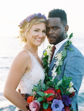 destination wedding in maui, bride with flower crown, groom with lei, bride in lihi hod bridal gown