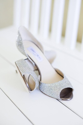 Jimmy Choo glittering silver wedding heels