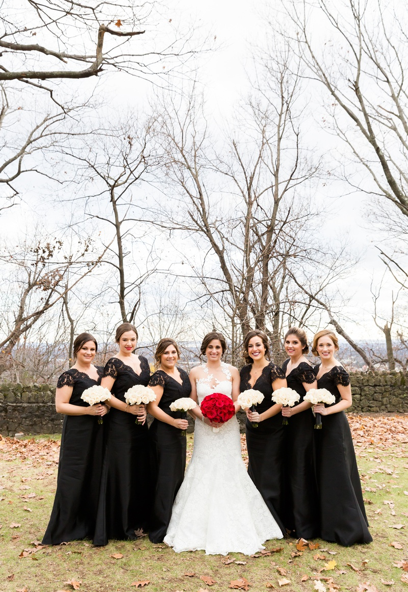 joe panik's wife brittany, joe and brittany panik wedding, bride in pronovias, bridesmaids in black