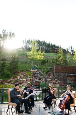 String quartet musicians playing at Big Sky, Montana wedding ceremony