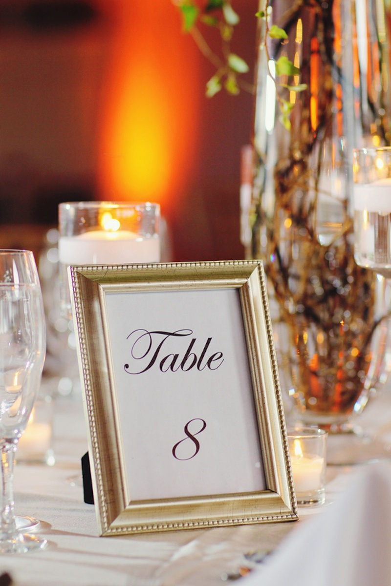Reception Décor Photos Table Card In Gold Frame Inside Weddings