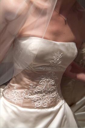 Reem Acra strapless wedding dress