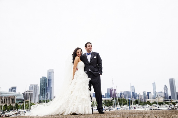 Bride in Oscar de la Renta gown with groom in Chicago