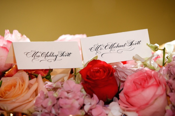 Bride and groom seating cards with new last name