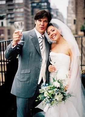 New York City skyline and happy couple