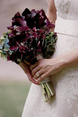 Purple calla lilies and hydrangea flowers
