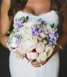 peony bridal bouquet with purple flowers