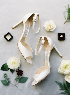 wedding heels shoes ivory peep toe jimmy choo pumps with ankle straps bridal accessories