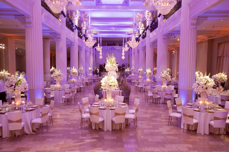 Marble columns in ballroom wedding reception room