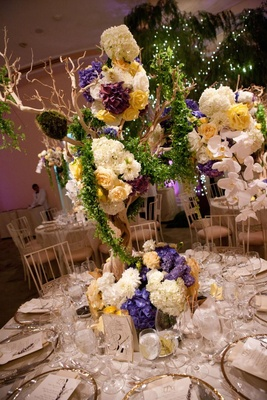 Garden-inspired tablescape with large floral arrangement