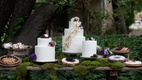 Outdoor wedding reception dessert table with moss, white wedding cakes, pies, and teacakes