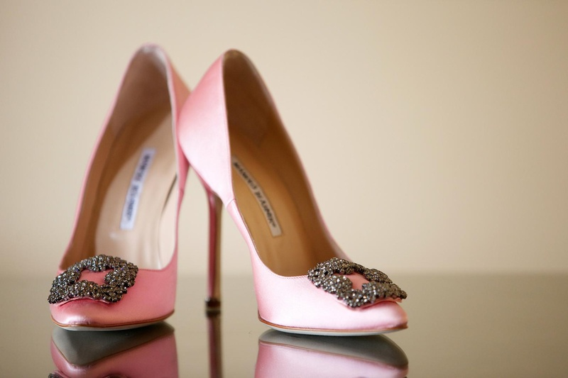 4cff8f11c5c11 Pink Wedding Shoes. 0 Favorites; 2 Repins. Manolo Blahnik heels with buckle  embellishment