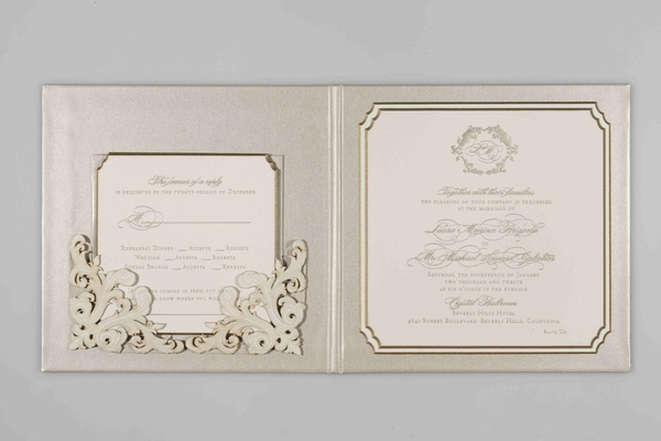 Metallic Lehr and Black invite with monogram