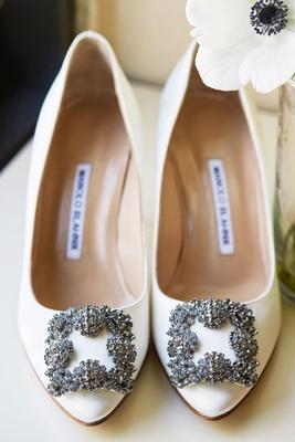 Wedding shoes white pump manolo blahnik swarovski crystal buckle detail on toe pointed toe pumps