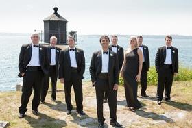 Groomsmen and groomswoman at Newport wedding