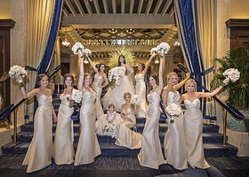 bridesmaids in champagne dresses by hayley paige occasions