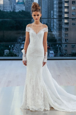 """Gramercy"" Ines Di Santo fall 2018 off shoulder lace wedding dress illusion sleeves detachable train"