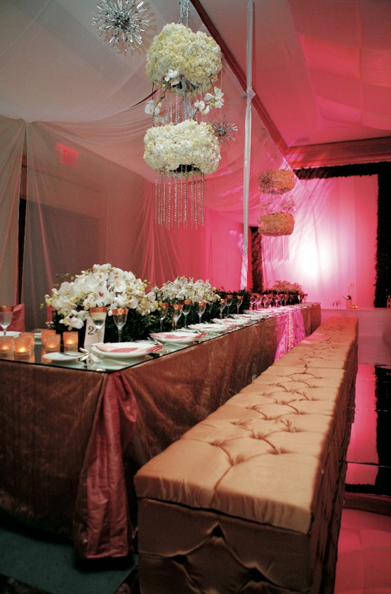 Reception Décor Photos - Gold Tufted Banquette - Inside Weddings