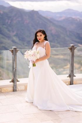 bride in riki dalal couture, detachable train on sheath gown
