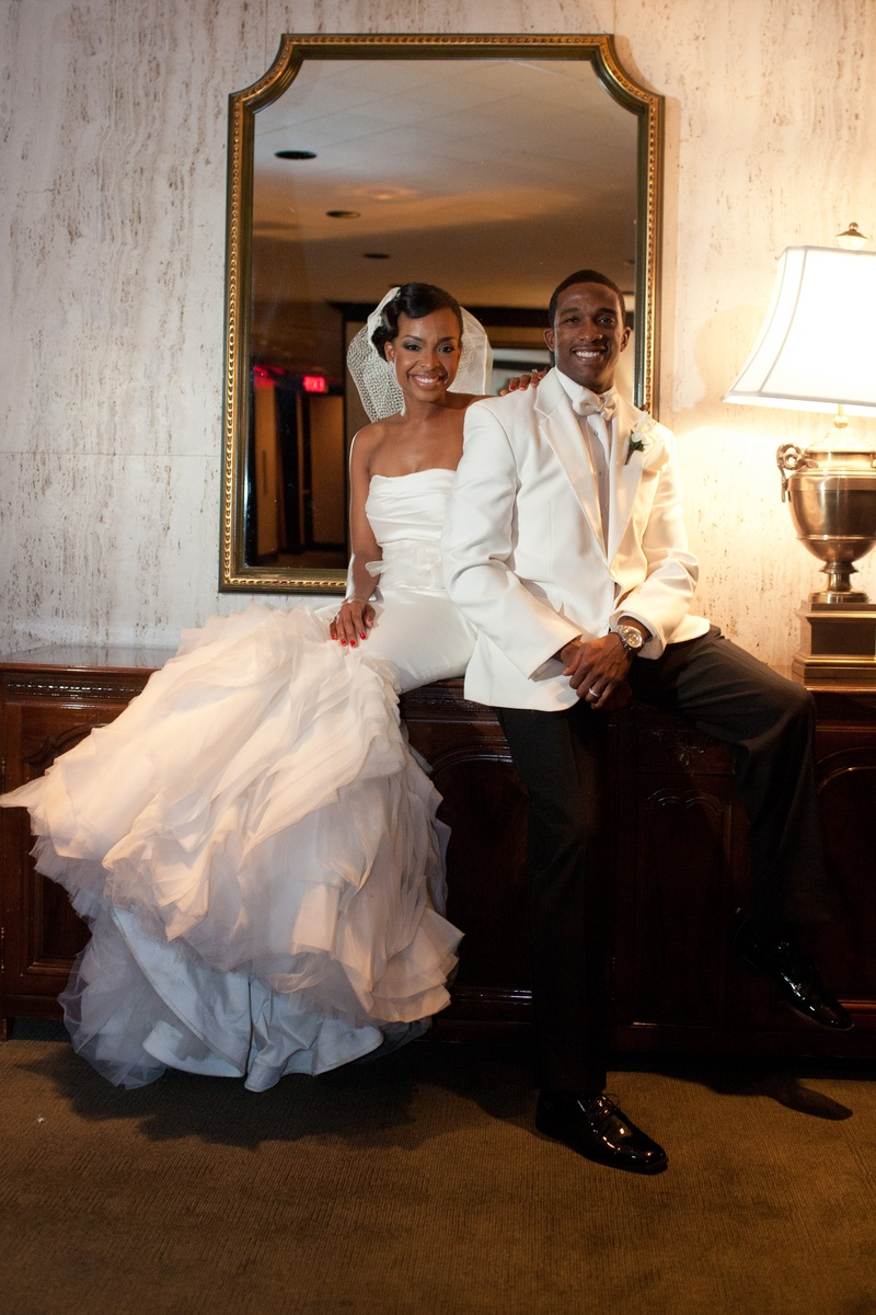 Jarett Dillard and bride at Houston wedding