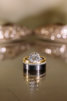 black tungsten titanium men's wedding ring bride's round diamond engagement ring solitaire