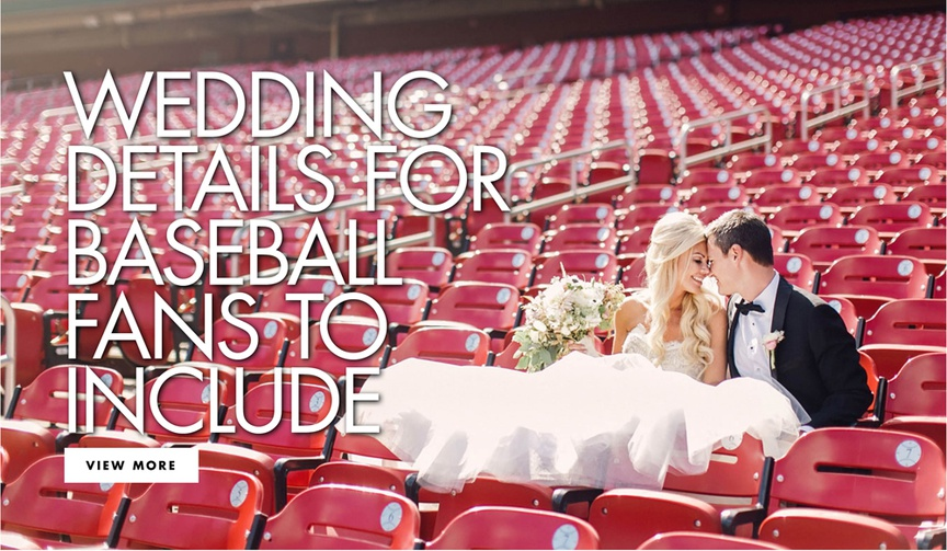 bride and groom sitting in seats at empty baseball stadium w/ red seats, baseball details in wedding
