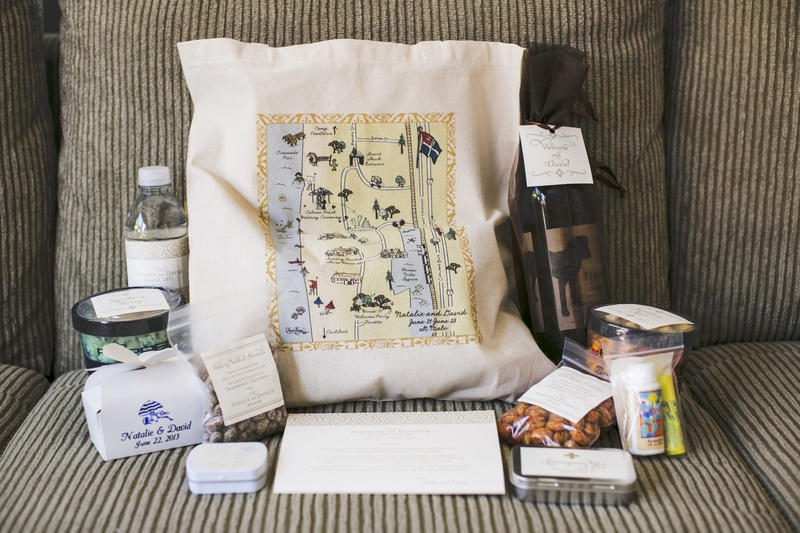 Tote bags with personalized map filled with goodies