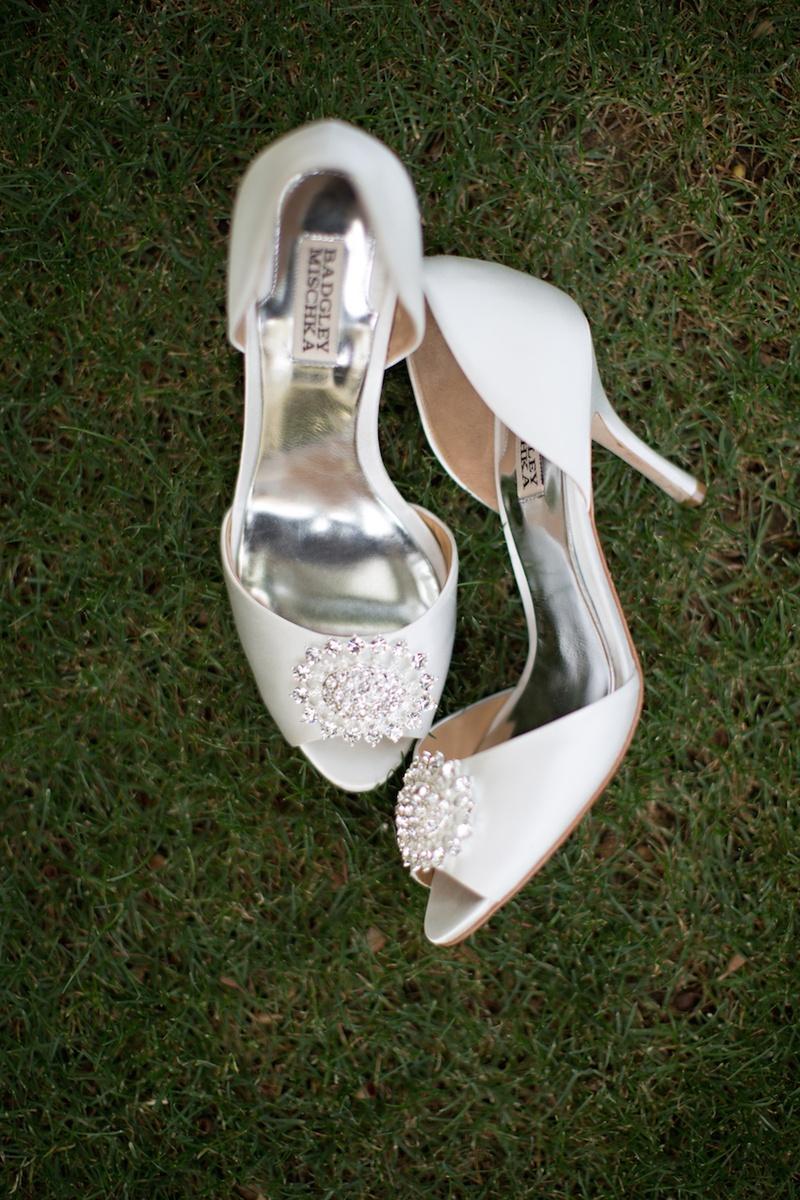 Bride Badgley Mischka peep-toe pumps with rhinestones