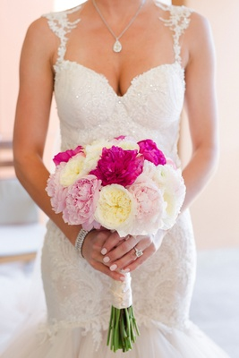 Barbie Blank in Galia Lahav wedding dress holding bouquet with white garden rose and pink peony
