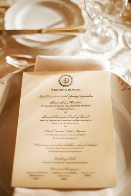 Ivory stationery with fancy wedding menu details