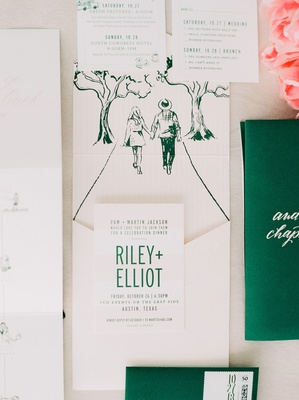wedding invitation suite modern invite with drawing of couple walking green emerald calligraphy