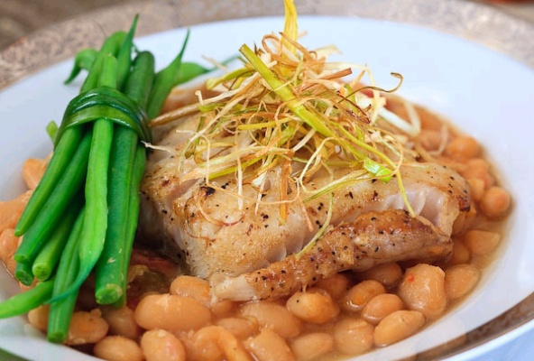 Cod and white bean stew with haricots verts.