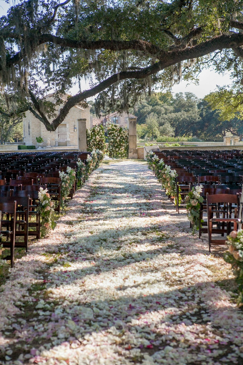 Outdoor Wedding Ceremony Decorations Flower Petal Aisle Markers On Wood Chairs Floral Gates