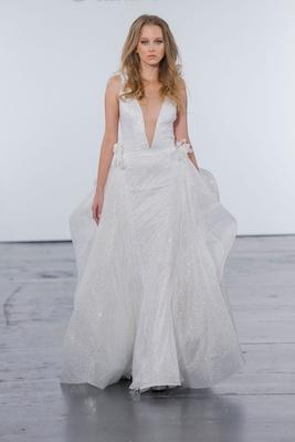 Pnina Tornai for Kleinfeld 2018 wedding dress v neck wedding gown glitter plunging bow details