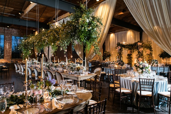 the foundry at puritan mill wedding, champagne drapery, lots of greenery