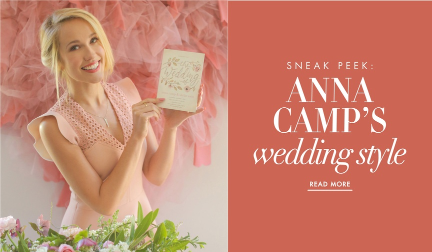 Anna Camp and Skylar Astin wedding style ideas with Wedding Paper Divas