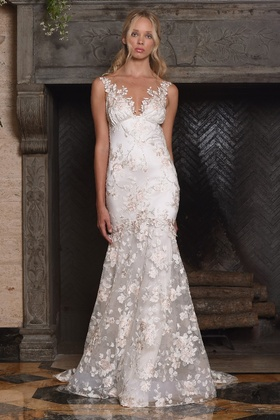 Claire Pettibone Four Seasons Couture Collection April embroidered tulle v neck mermaid bridal gown