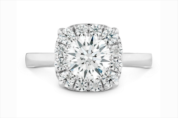 Hearts On Fire halo diamond engagement ring with polished band