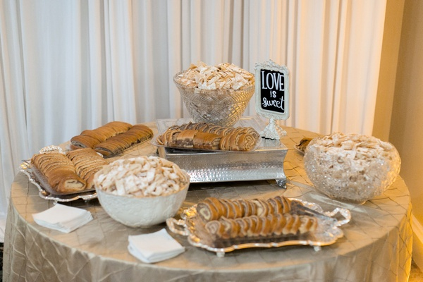 Wedding reception with a dessert table of Croatian pastries