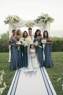 Lisa Coffey with flower girl and bridesmaid girls