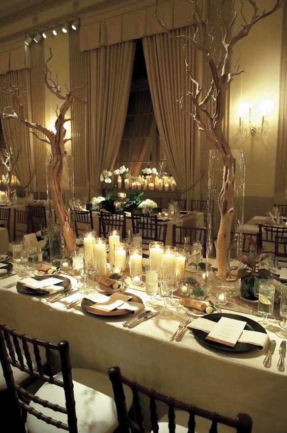 Reception Décor Photos - Manzanita Branch Centerpieces - Inside Weddings