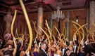 hora loca, crazy hour, peruvian wedding tradition, wedding guests dancing with gold balloons